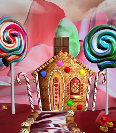 casita de dulces: Casa Fantasy en una tierra de dulces