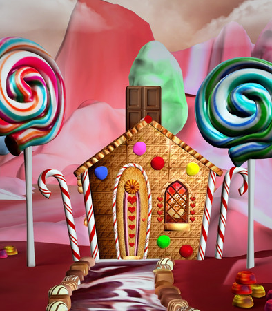 Fantasy house in a candy land  photo
