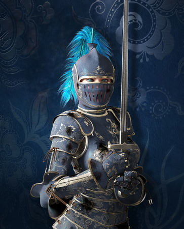 medieval woman: Blue medieval knight