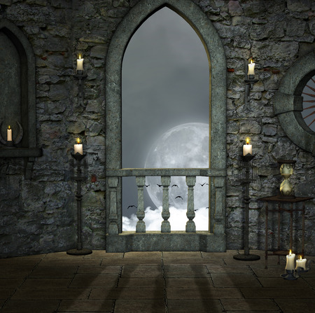 castle interior: Full moon room Stock Photo