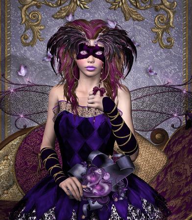 harlequin: Purple harlequin