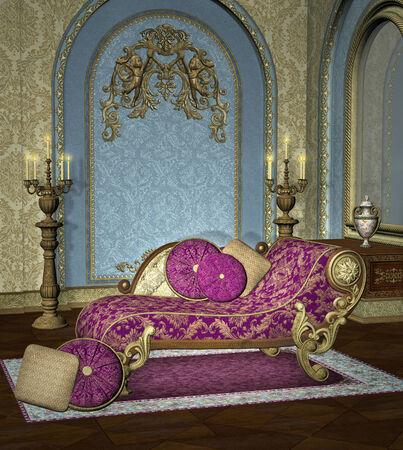 antique vase: Baroque room background Stock Photo