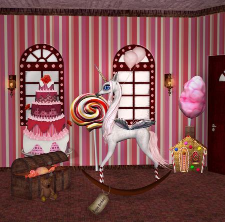 cotton candy: Birthday room Stock Photo
