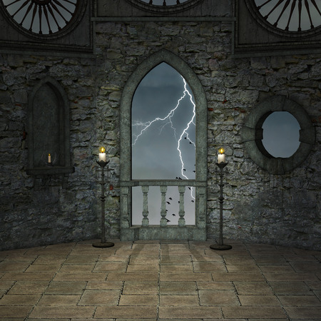 balcony window: Empty castle room