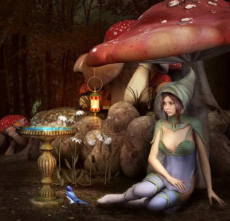 nocturne: Little elf inside the forest