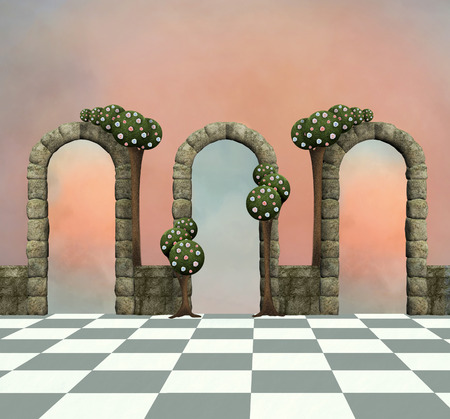 Wonderland background with arcs and trees