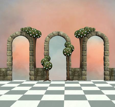 surrealism: Wonderland background with arcs and trees