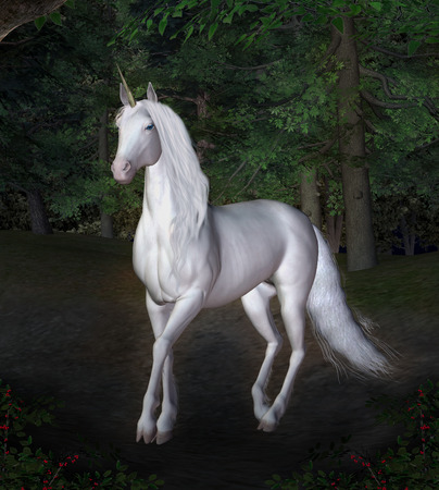Unicorn in the forest photo