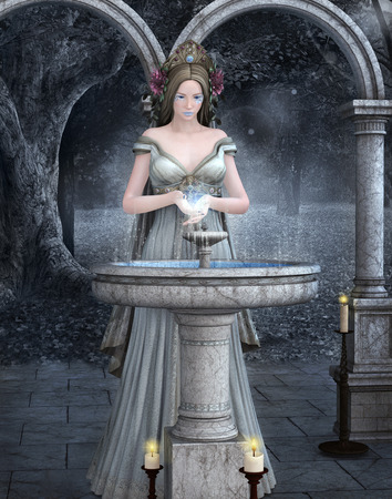 medieval woman: Rite of water Stock Photo