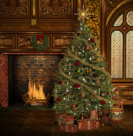 victorian fireplace: Enchanted christmas tree