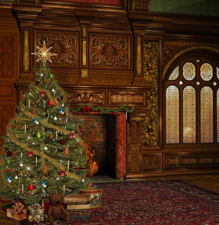 victorian christmas: Enchanted christmas room