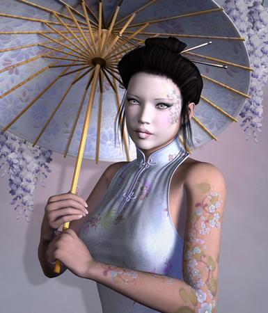 Portrait of a geisha with umbrella photo