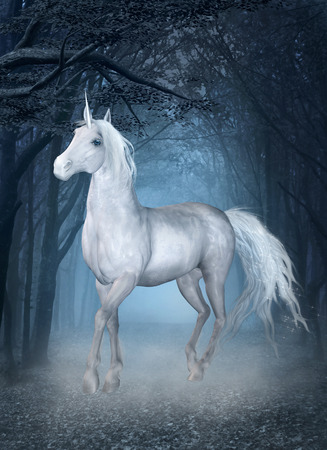 Unicorn in the blue forest photo