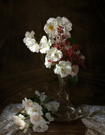 Vintage still life with roses and berries