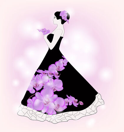 dress sketch: Sketch of a bride with orchids