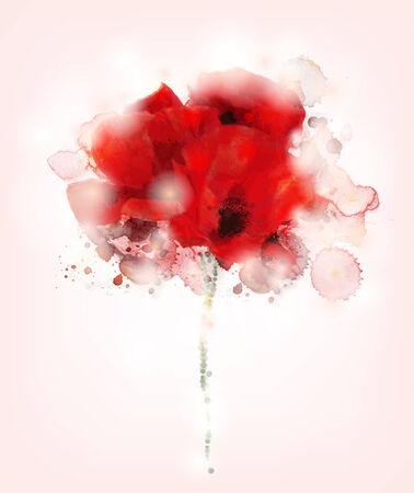 poppies: Watercolor poppies bouquet