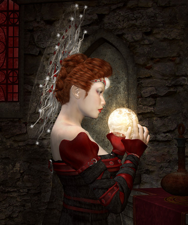 medieval woman: Secret alchemy Stock Photo