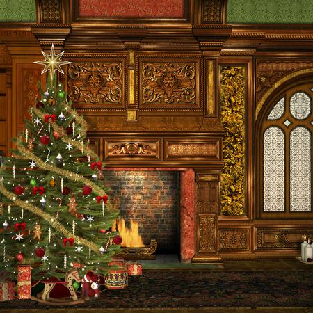 incendio casa: Hall de Navidad de la vendimia