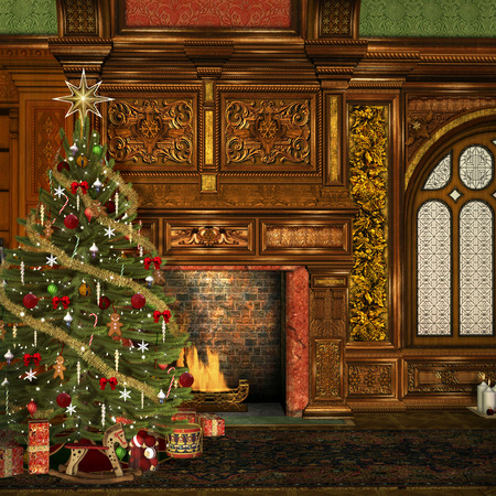 christmas tree ball: Vintage christmas hall