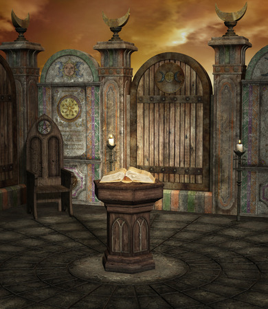 a legend of magic: Old altar Stock Photo