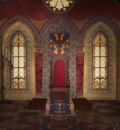 finestra: Trono Medievale Archivio Fotografico