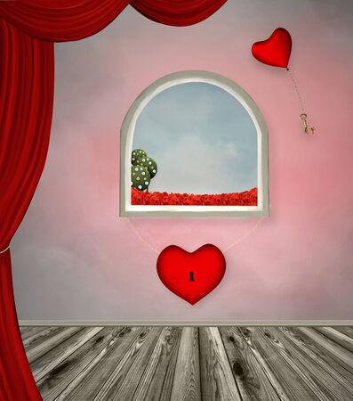 locked: Room of locked heart Stock Photo