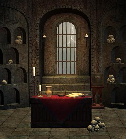 castle interior: Room of skulls