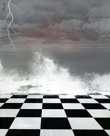 moody sky: Surreale paesaggio marino tempesta