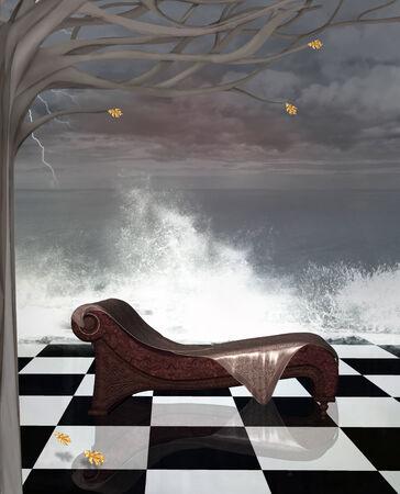 moody sky: Surreale paesaggio marino con poltrona