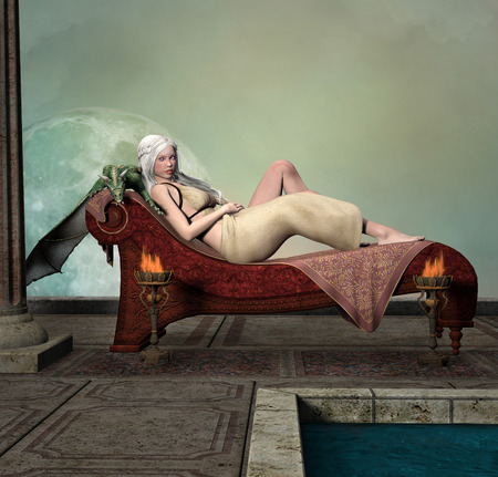 fantasy woman: Beautiful lady with dragon Stock Photo