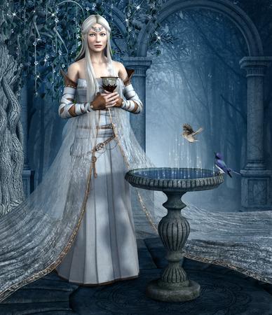 garden fountain: Elf elixir Stock Photo