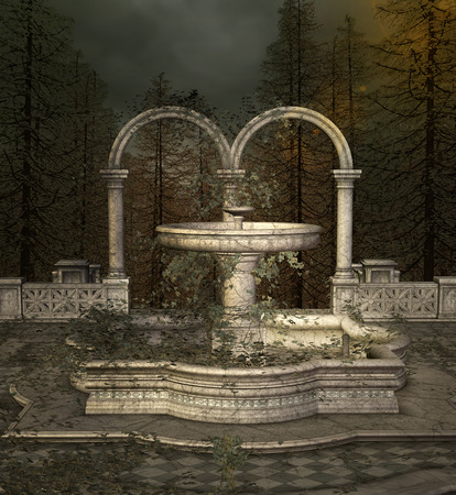 deserted: Ancient fountain Stock Photo