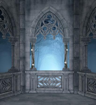 castle interior: Romantic terrace