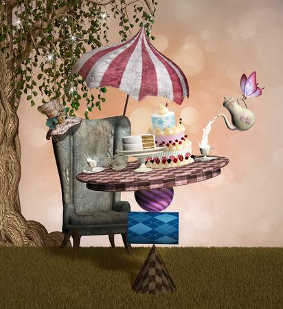 Série Wonderland - Mad Hatter banquet Banque d'images - 36566056
