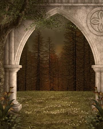 passage: Ancient arc background Stock Photo