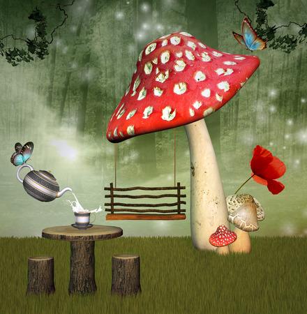 fantasy butterfly: Fantasy garden Stock Photo