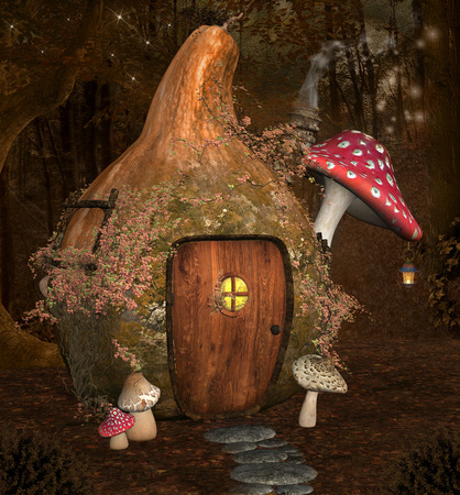 Enchanted pumpkin house Stock Photo