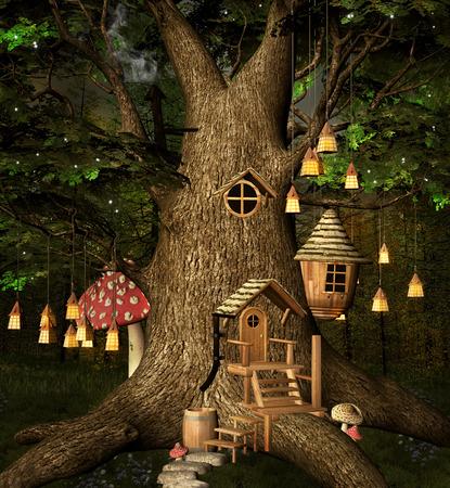 fairy light: Tree house