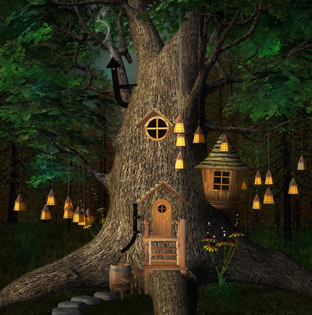 elves: Tree house by night Stock Photo
