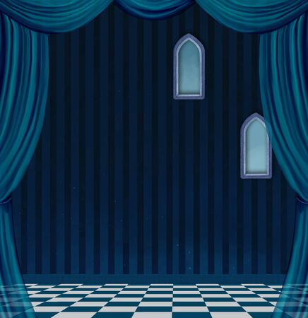 nocturne: Empty surreal blue room Stock Photo