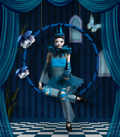 circus performer: Blue clown