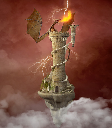 fantasy castle: Dragon tower Stock Photo