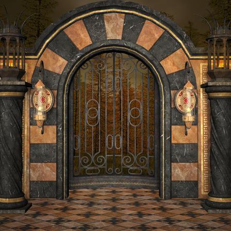 light columns: Ancient gate