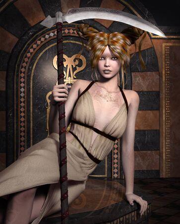 the scythe: Damon con la guada�a
