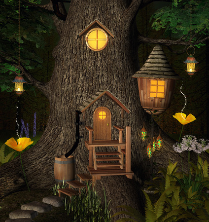 nocturne: Summer elf tree house Stock Photo