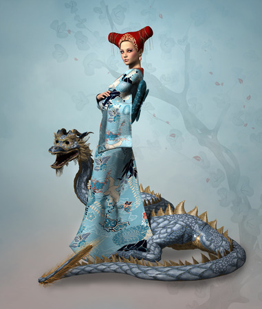 fantasy warrior: Eastern woman with dragon