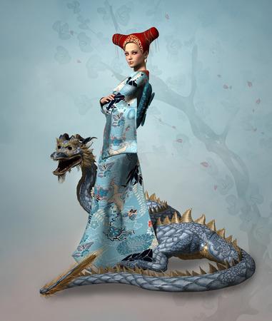 the dragons: Mujer de Oriente con el drag�n