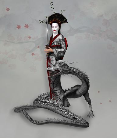 Female samurai with katana and dragon