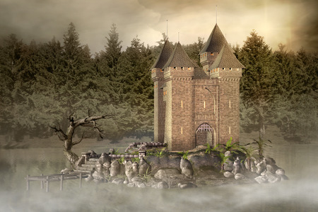 enchanted: Enchanted castle in the middle of the lake