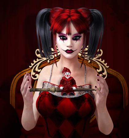 girl magic wand: Clown with magic wand